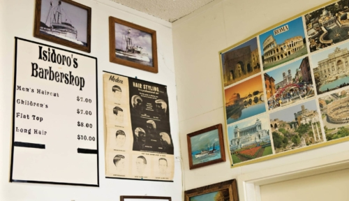 A photo of the barber's price list in Isidoro Colonna's San Pedro barbershop (photo: John Mattera Photography)