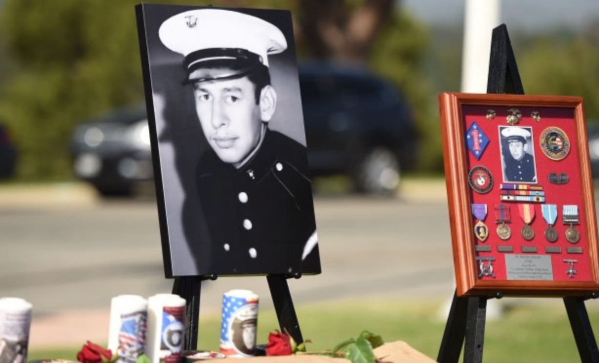 Photo of Roger Gonzalez being laid to rest at Green Hills Memorial Cemetary in Rancho Palos Verdes, California. (Photo by Brittany Murray, Press-Telegram/SCNG)