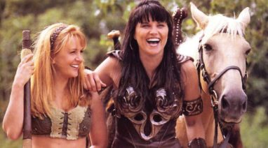 Photo of Renée O'Connor with Lucy Lawless on Xena: Warrior Princess (photo: courtesy Renée O'Connor)