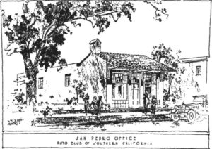 This drawing of the Auto Club is the only known image for the 1924 building built on Pacific Ave. between 6th and 7th Sts. in San Pedro California (photos: Romee Collection)