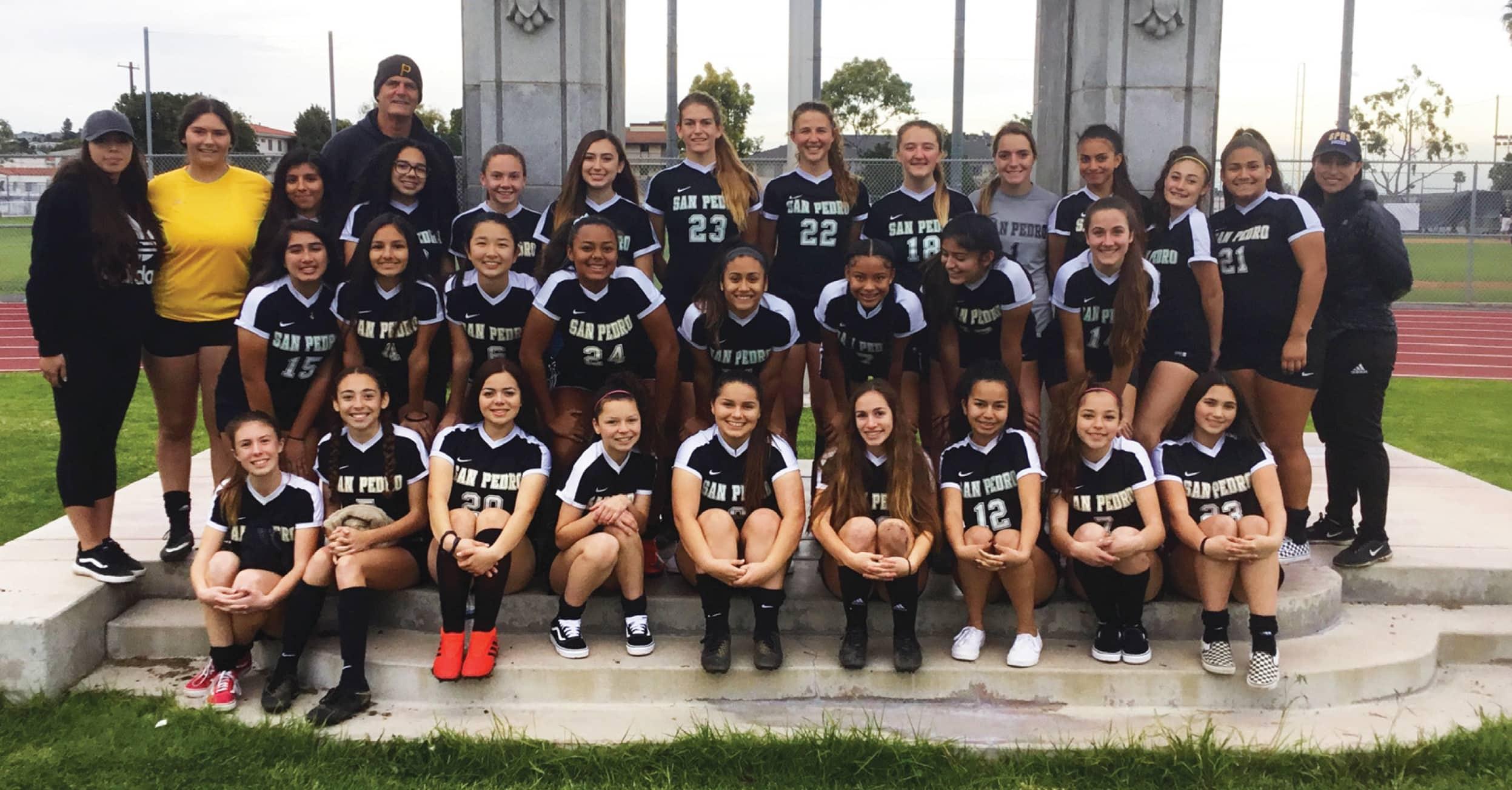 Photo of San Pedro High School varsity girls soccer team 2018-19 (Photo by Jamaal K. Street)