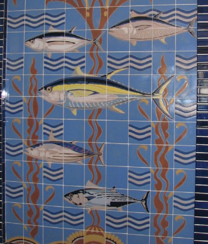 Photo of Tile mural originally installed at the Van Camp Seafood Company featuring the five types of tuna. (photos: courtesy Los Angeles Maritime Museum. Gift of the Iacono family)