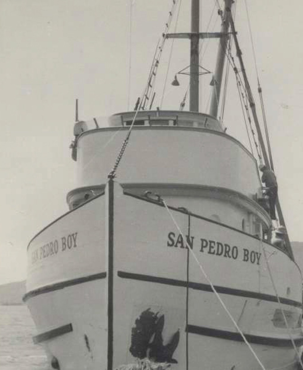 Photo of Fishing boat San Pedro Boy. (photos: courtesy Los Angeles Maritime Museum. Gift of the Iacono family)