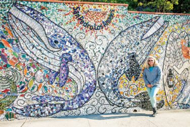 Photo of mosaic artist julie bender in san pedro california