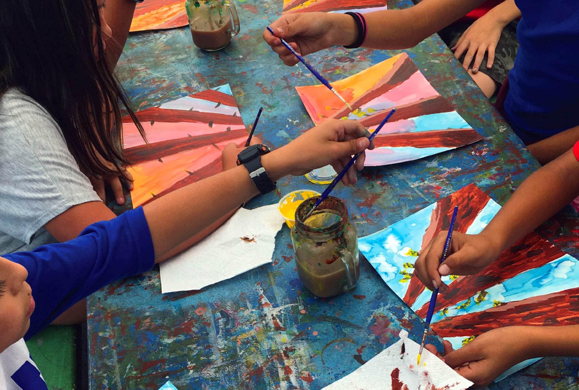 Photo of children making art in San Pedro California