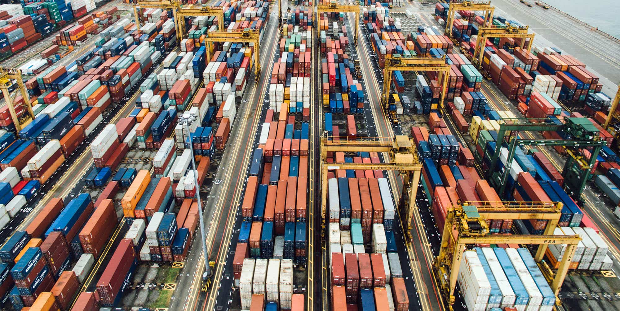 Photo of shipping containers on a port