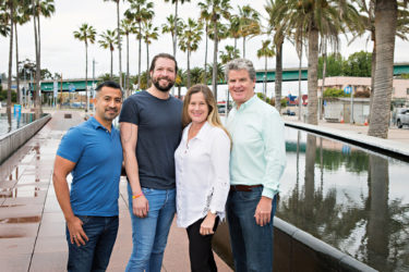Photo for San Pedro Today magazine, Pride on the Port committee members (l to r): Daniel Garcia-Sheffield, Aiden Garcia-Sheffield, Mona Sutton, and Tim McOsker. (photo: John Mattera Photography)