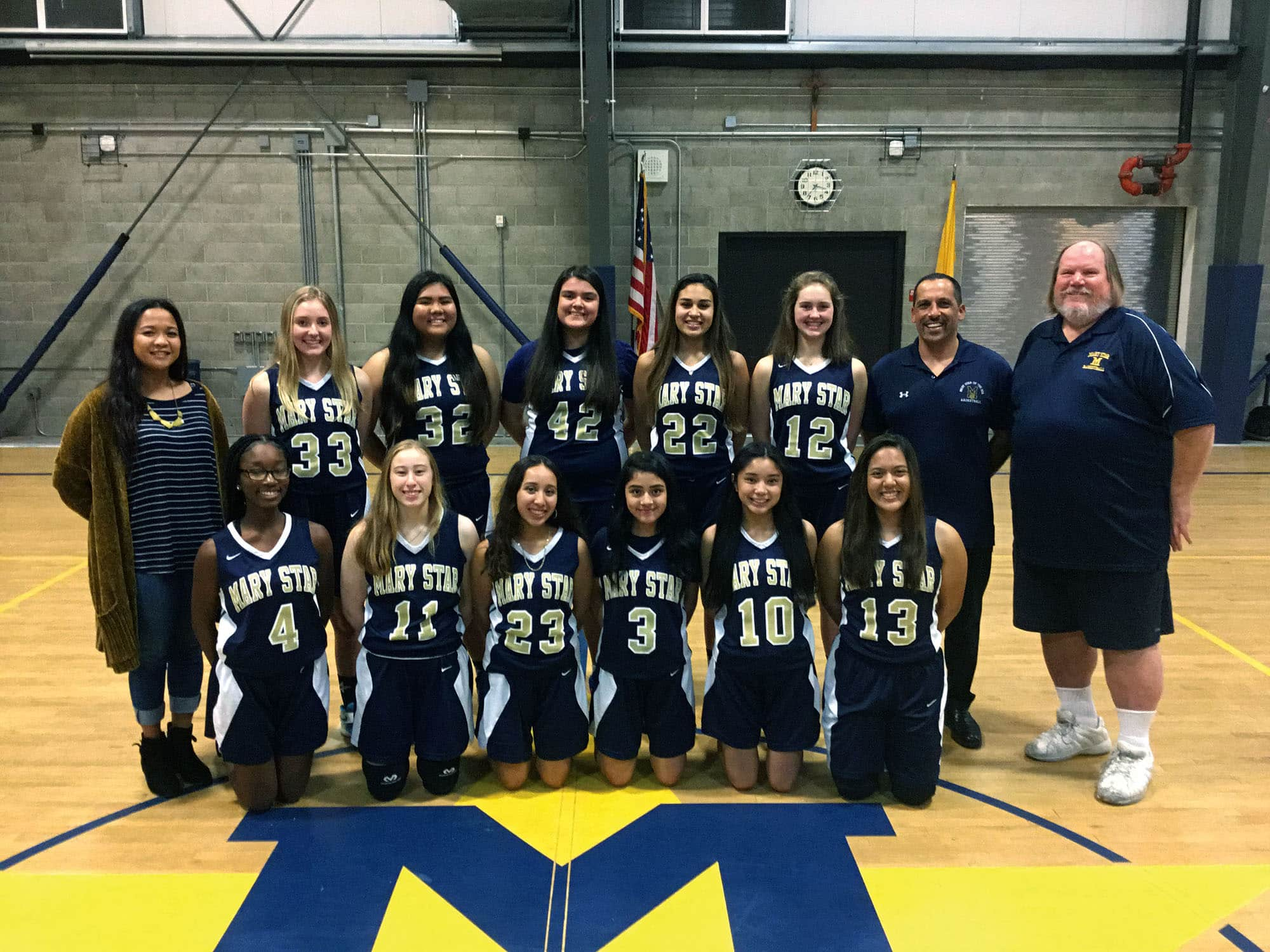 Photo of The 2018-19 Mary Star of the Sea High School girls basketball team